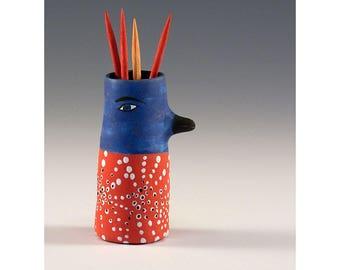 Rhonda - Keramik Vogel Zahnstocher halten Knospe Vase von Jenny Mendes