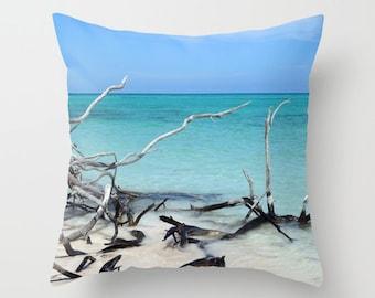Beach Throw Pillow, Ocean Blue Pillow, Decorative Pillow, Nature Cushion, Tropical Pillow, Nautical Pillow, Surf, Beach Hut, Holiday, Dorm