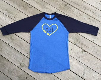 "Down Syndrome Awareness Shirts ~ ADULT SIZES - Unisex Raglan Style American Apparel Blue Shirt with Yellow and Blue ""T21"" Heart Logo"