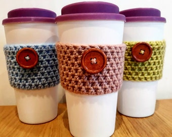 Coffee Cosy, Crochet Coffee Cosy, Travel Cup Cosy, Coffee Cup Sleeve, Coffee Cosy With Button, Travel Mug Cosy, Takeaway Coffee Sleeve