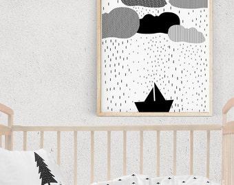 Black and White Nautical Print, RAINY DAY Illustration, Boat Print, Kids Poster, Monochrome Nursery Wall Art, Nordic Poster, Baby Room Decor