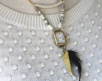 Vintage Watch Necklace with Bone Detailing