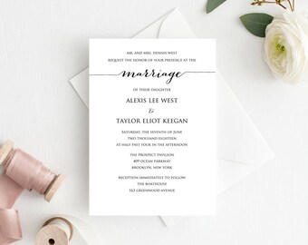 Marriage Wedding Invitation Template, Editable Wedding Template, DIY Wedding Printable, Personalized Invitation, Rustic Wedding Invitation