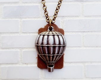 Steampunk Hot Air Balloon Essential Oil Diffuser Necklace, Aromatherapy Pendant