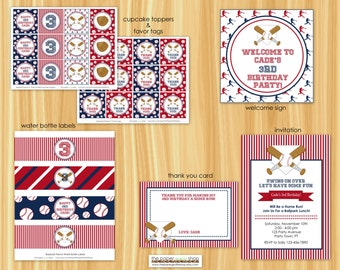 Baseball Birthday Party Decor Package   Baseball Birthday Party   Baseball Party   Cupcake Toppers, Banner, Favor Tags, Water Bottle Labels