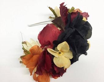 Black, Burgundy and Ivory Fall Inspired Flower Crown Headband