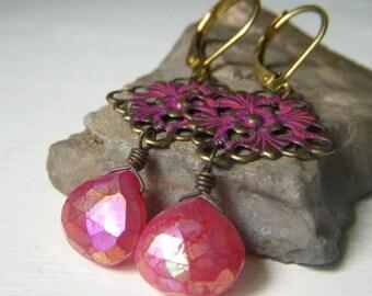 Ruby Color Gemstone Earrings, Ruby Filigree Patina Earrings, Ruby Pink Dangle, Ruby Mystic Chalcedony Gemstone Briolette, Brass Dangle