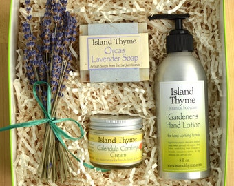 Gardener's Gift Set, with lavender soap, hand lotion, deep moisturizing cream and lavender bouquet from our farm.