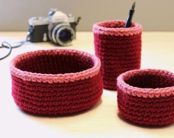 Red & Pink Crochet Basket Desk Set, Office Organization, Kids Room Decor