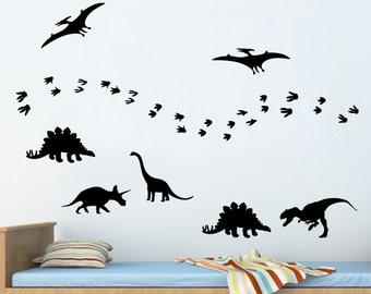 Dinosaurs & footprints VINYL DECALS - Dinosaur vinyl Decal Stickers - Children - Nursery wall decals - Pack of 7 and lots of Footprints