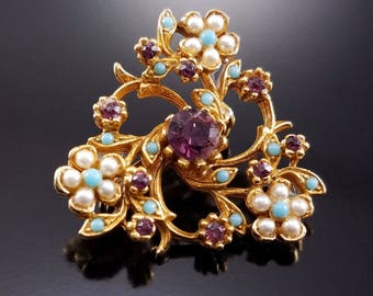 Vintage Seed Pearl Brooch Amethyst Rhinestone Faux Turquoise Figural Estate Pin