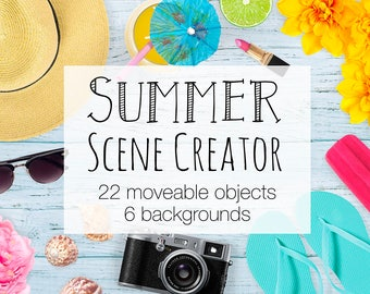 Summer Scene Creator, Colorful Top View Mockup Creator Including 2 Card Mockups, Summery Photoshop Scene With Moveable Objects
