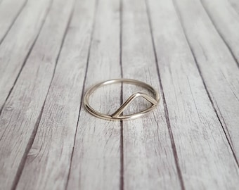Sterling silver stacking ring, triangle ring, Geo ring, gift, silver ring, birthday gift, ring