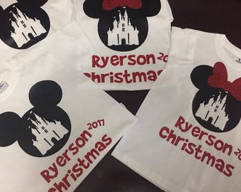 Christmas Minni Mouse/Disney Family Shirts Disney Shirts Mickey and Minnie Head Custom Disney Trip Shirt I Cruise