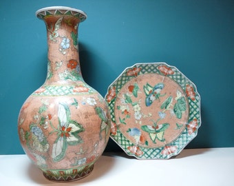 Porcelain Vase and Plate hand decorated in Macau