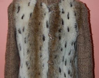 Faux Fur Sweater Coat Warm Vintage 80s Animal Cheetah Print Stylish Mod Jacket