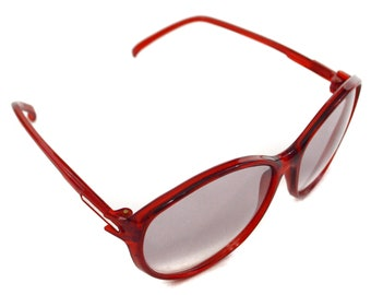 Vintage 70s Foster Grant Deadstock Clear Red Oval Shades Sunglasses