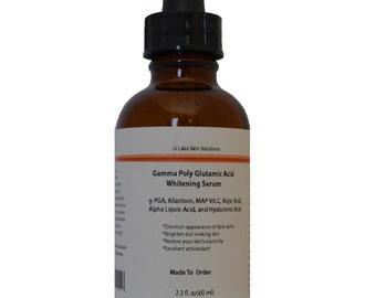 Whitening Serum with Gamma Poly Glutamic Acid, Allantoin, MAP Vitamin C, Kojic Acid, Alpha Lipoic Acid, and Hyaluronic Acid 2.3 oz