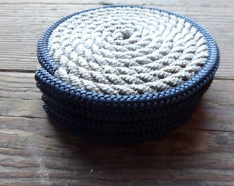 Set of 4 Rope Coasters Nautical Decor Gray with Navy Blue Trim