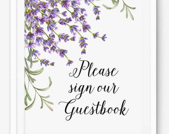 Please Sign Our Guestbook Purple Print - Wedding Sign - Purple Lilac Flower Design - Instant Download