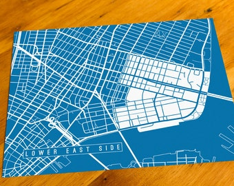Lower East Side - NYC, NY - Map Art Print  - Your Choice of Size & Color!