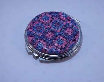 Polymer Clay Embellished Compact Purse Mirror, Pink, Blue & Purple Granny Square