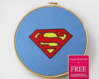 Superman Cross Stitch Kit, Cross Stitch Kit, Superhero Cross Stitch Kit, Modern Couned Cross Stitch Kit, Disney Cross Stitch Kit
