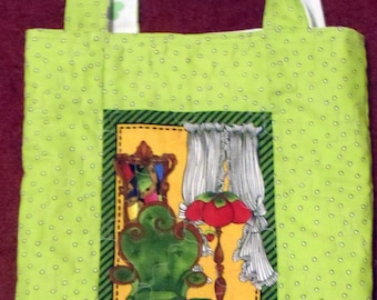 tote bag, library bag, book bag, gift bag, Loralie. Print, YOUR CHOICE, quilted, reversible, sewing theme