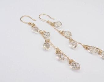Gold Chandelier Earring Champagne Crystal Tear Drop #637