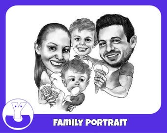 Custom family caricature portrait. Personalized family art print. Large Family. Anniversary. Illustration. Farewell gift