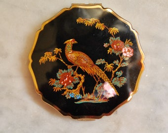 Stratton Compact - Enamel with Floral Peacock Design - Mint!