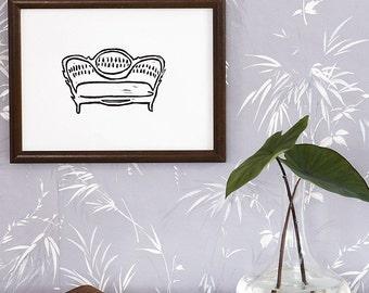 "vintage couch linoleum block print - 9"" x 12"" wall art"