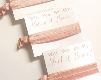Rose Gold Wedding - Rose Gold Bridesmaid Gift - Will you be my Bridesmaid Gift - Bridesmaid Hair Tie - Bridesmaid Proposal Card