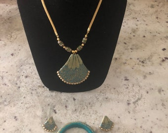 Polymer Clay Jewelry Set - Necklace, Earrings, Bracelet (Indian)