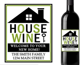 New home wine label, house wine label, housewarming wine label, custom wine labels, housewarming gift, realtor wine label, wedding gift