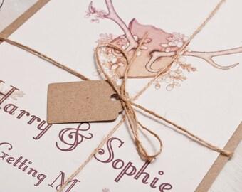 Autumnal Antler Wedding Invitation - Invite Suite sample