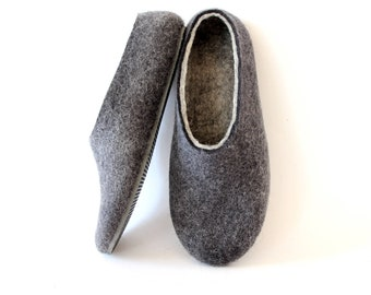 Boiled Wool Slippers Unisex Charcoal Gray, Mens slippers Felted Wool Slippers, Felted Slippers Winter Slippers Felt Wool Slippers for Mother