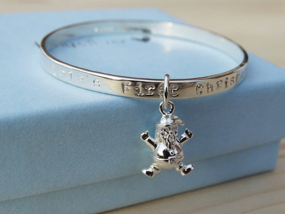 Personalised Silver Santa Bracelet For Babies First Christmas - Sterling Silver