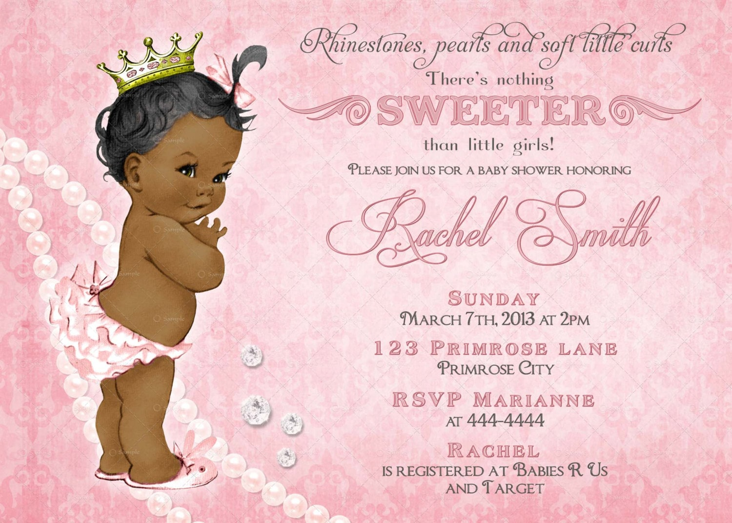 African American Girl Baby Shower Invitation FREE Thank You