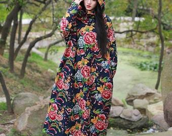 Flowe print hooded coat long jacket coat spring linen hooded jacket linen jacket maxi coat dress oversize coat plus size clothing