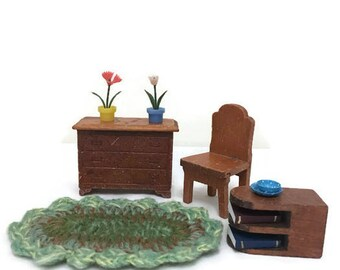 Strombecker Dollhouse Furniture -Dresser, Chair and Side Table - Miniature Wooden Furniture
