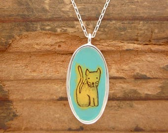 Cat Person Necklace - Cat Necklace - Reversible Enamel and Sterling Silver Necklace