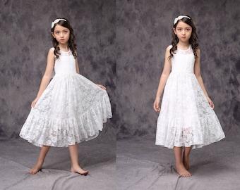 Flower Girl Lace Dress White Ivory, Girl Lace Dress. Communion Dress Bow Sash Children  D11