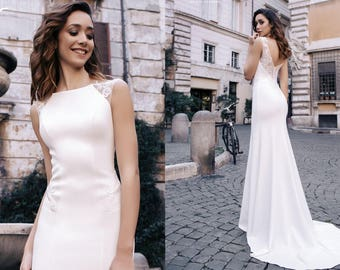 Bateau Neckline Wedding Dress Mermaid Cap Sleeve Bridal Gowns TAYLOR
