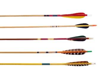 Vintage Wood Arrows. Wooden Arrows. Painted Decorative Arrows. Archery Arrows. Set of 5. Retro Graphics Feather Arrows. Boho Decor. MCM