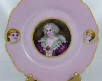 Antique Haviland & Co. Limoges Portrait Plate Handpainted Woman Children 1877