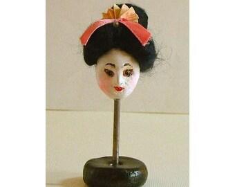 Geisha, Folk Art, Japanese, Miniature, Doll, Sculpture