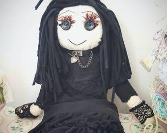 Rag Doll Goth doll Steampunk shabby chic alternative doll art doll halloween horror
