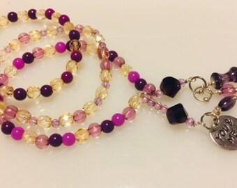 Purple Beaded Charm Bracelet 3pc set