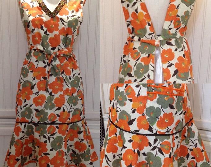 Women's full apron long pinny brown orange poppy print vintage ribbon linen feel vintage style ruffle apron dress
